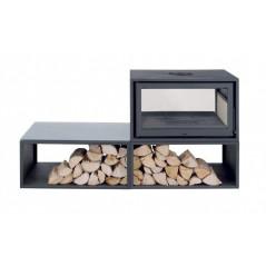 Estufas de Leña DUO BOX 10kW Doble Cara de Solzaima vista frente