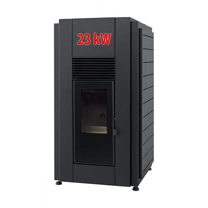 Hidroestufas de Pellets Douro 23 kW Negra Aire-Agua para radiadores Solzaima
