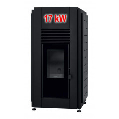 Hidroestufas Pellets Aire-Agua Douro 17 kW negra Puerta de Cristal Solzaima